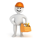 White smile character stay with toolbox Stock Images