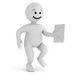 White smile character walk with mail Stock Photography