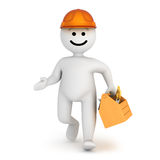 White smile character walk with toolbox Royalty Free Stock Photo