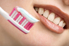 White smile and toothbrush Royalty Free Stock Photos