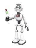 White smiling cartoon robot holding rose. Stock Photos
