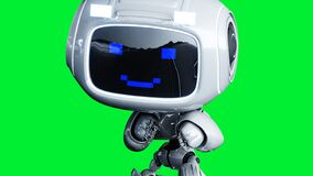 White smiling toy robot animation. 3d rendering.