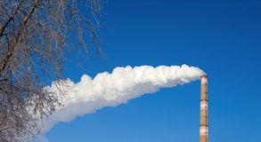 White smoke in the background of blue sky. White smoke from a factory chimney  in the background of blue sky Royalty Free Stock Photography