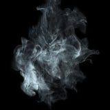 White smoke on black background. White cigarette smoke isolated on black background