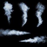 Smoke. White smoke collection on black background Royalty Free Stock Photo