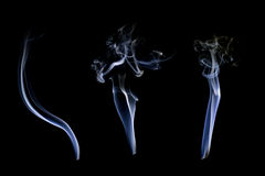White smoke collection. On black background Royalty Free Stock Photo