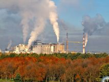 White smoke coming out of industrial chimney Stock Image