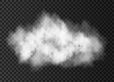 White  smoke explosion   isolated on transparent background. Steam  cloud  special effect.  Realistic  vector   fire fog or mist texture Royalty Free Stock Photos