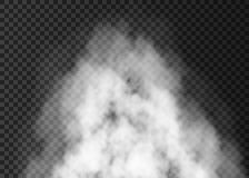 White smoke explosion   on transparent background. White explosion   on transparent background.  Steam special effect.  Realistic  vector fire smoke, fog  or Stock Image