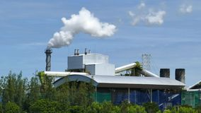 White smoke from factory plant over blue sky background. Air environment pollution of industrial stock footage