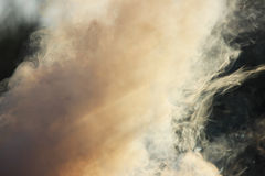 White smoke from the fire where wet boards and sawdust lie. Royalty Free Stock Photos