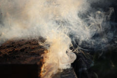 White smoke from the fire where wet boards and sawdust lie. Stock Photos
