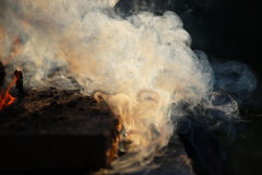 White smoke from the fire where wet boards and sawdust lie. Royalty Free Stock Image