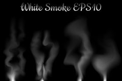 White smoke  illustration on black background. White smoke effect. Cigarette or cigar smoke flow in air. Fireplace smoke. Mysterious air flow with transparent Royalty Free Stock Photography