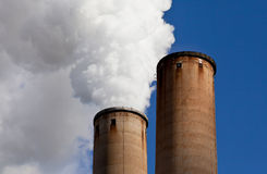 White Smoke out of Industrial smokestack Stock Photography