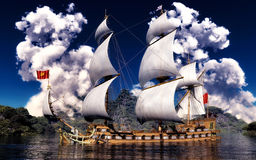 White smoke over ancient ship Stock Images