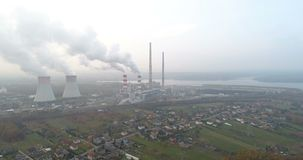 White smoke over power plant. Air pollution stock video footage