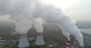 White smoke over power plant. Air pollution stock video