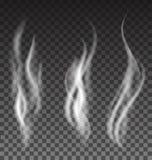 White smoke set on translucent background. White smoke vector set on translucent background Royalty Free Stock Photos