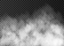 White smoke texture on transparent background. Steam special effect. Realistic vector fog or mist