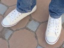 White sneakers Stock Photos