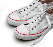White sneakers. Isolated footwear background Royalty Free Stock Photography