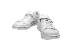 White sneakers isolated on white Royalty Free Stock Photography