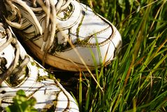 White sneakers. Old white sneakers are  long forgotten in the garden Royalty Free Stock Photos