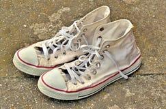 White Sneakers On Asphalt Stock Image