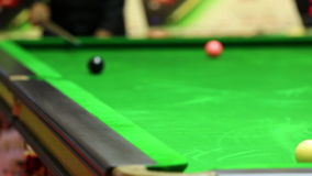 White snooker ball bounce side cushion to aim stock video