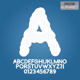 White Snow Alphabet and Numbers Vector Stock Photo