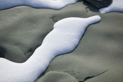 White snow and black rock.JH. White snow on top of black sand stone.JH stock photos
