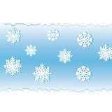 White snow on a blue background. Royalty Free Stock Photos