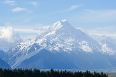 White snow on the Cook mountain peak with bright sunlight. In New Zealand Royalty Free Stock Images