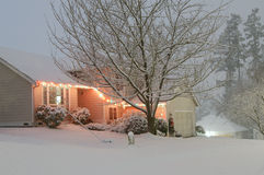 White Snow Covered House Stock Image