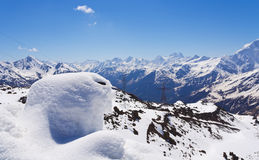 White-snow creation of nature on the backdrop of the Caucasus mountains Royalty Free Stock Photography