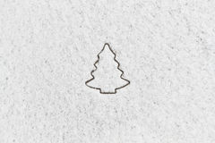 White snow with drown christmas tree shape Royalty Free Stock Photography