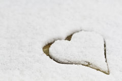 White snow with drown heart shape Royalty Free Stock Image
