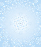 White snow flacks kaleidoscope background Stock Image