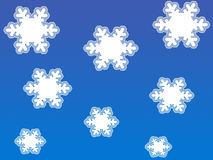 White snow flakes. On blue background Vector Illustration