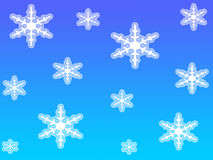 White snow flakes. On light blue bacxkground Vector Illustration