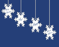 White Snow Flakes on Blue Page Stock Image