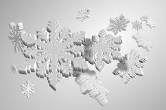 White snow flakes. 3d illustration of a number of white snow flakes Stock Photo