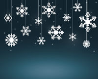 White Snow Flakes Hanging On Strings stock illustration