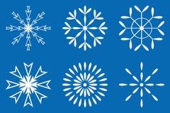 White snow flakes set Royalty Free Stock Photo