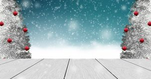 Winter background with christmas tree, snowfall.