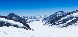 White snow mountain. Landscape view from the top of Europe stock image