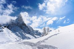 White snow mountain panorama sunny day. White snow mountain panorama in a sunny day royalty free stock images