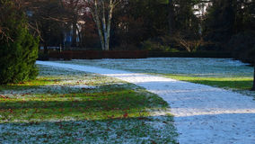 White snow path in park Royalty Free Stock Photography