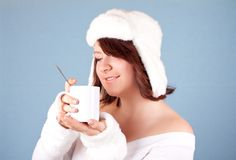 White snow queen with cup of tea Stock Image
